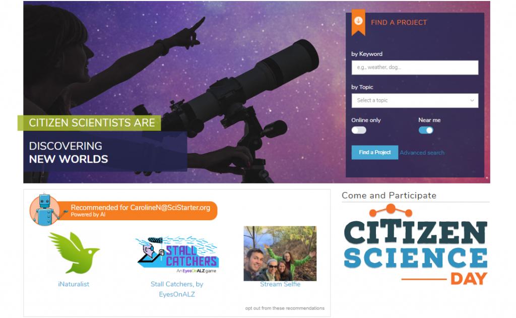SciStarter homepage screenshot