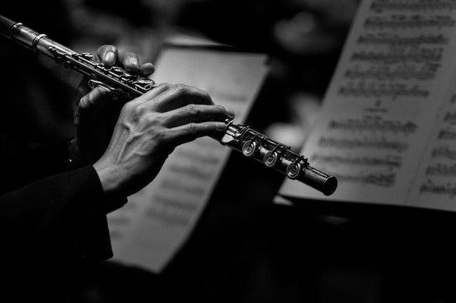 Flute player hands close-up musician band orchestra - Shutterstock