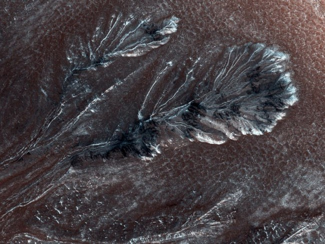 Mars frost on craters NASA JPL