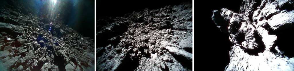 Surface views of Ryugu from the MINERVA II rovers. The left 2 images are from rover 1B, the final one from 1A. (Credit: JAXA)