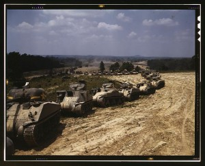 A line of M4 Sherman tanks and M3 Grant tanks at Ft. Knox near Louisville, Kentucky in June 1942. Credit: Alfred T. Palmer / Courtesy Library of Congress