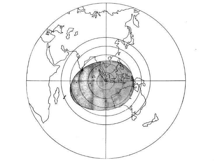 A map showing the area in which the Krakatoa explosion could be heard. (Credit: The eruption of Krakatoa, and subsequent phenomena, 1888)
