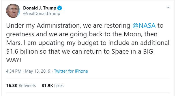 Trump Tweet May-13-2019 Space - Screenshot
