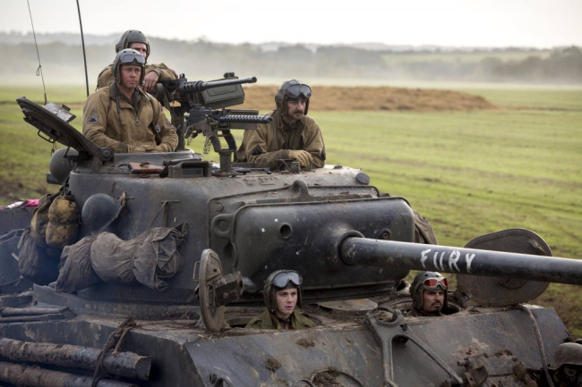 "Brad Pitt plays the commander of a five-man crew in a U.S. Sherman tank near the end of World War II in the film ""Fury"". Credit: Courtesy Sony Pictures Entertainment"