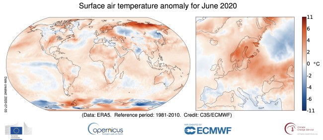 Temperature Anomalies for June 2020