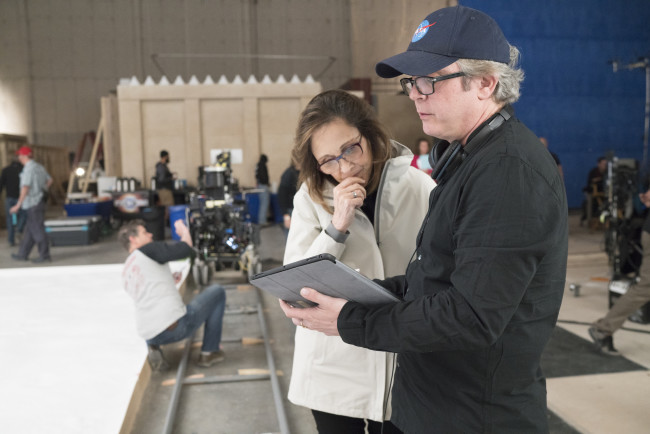 Ann Druyan with executive producer Brannon Braga on the set of Cosmos: Possible Worlds. (Credit: Lewis Jacobs/FOX)