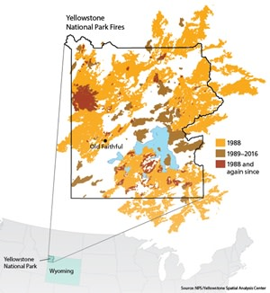 Map of Yellowstone Wildfires