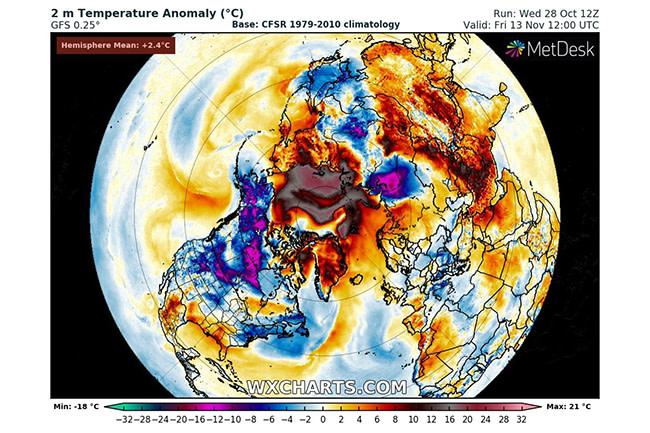 Arctic temperature forecast - WXCHARTS.COM