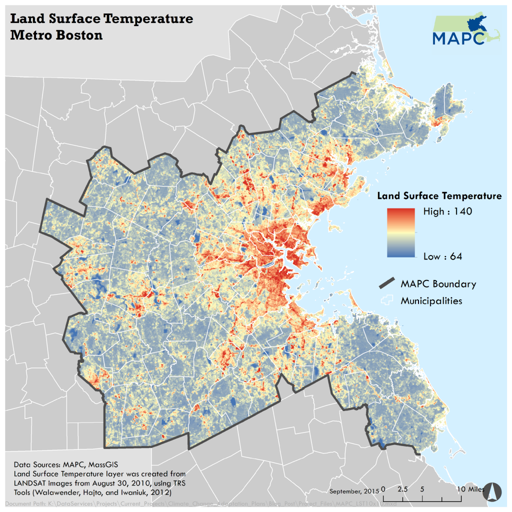 Land surface temperature map of Greater Boston