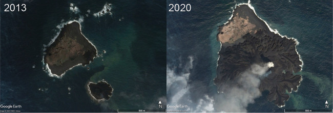 Nishino-shima Before and During - Google Earth