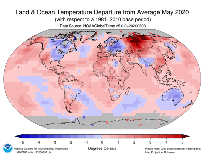 NOAA's Map of Global Temperature Anomalies for May
