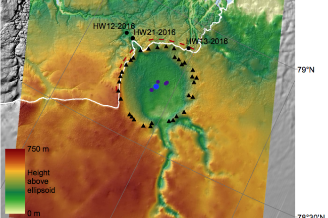 A heatmap shows in green a circular crater depression in a red-and-yellow colored surrounding.
