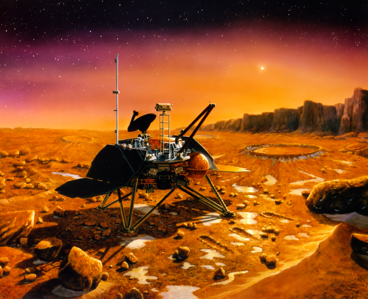 artist's depiction of the lander on a red planet