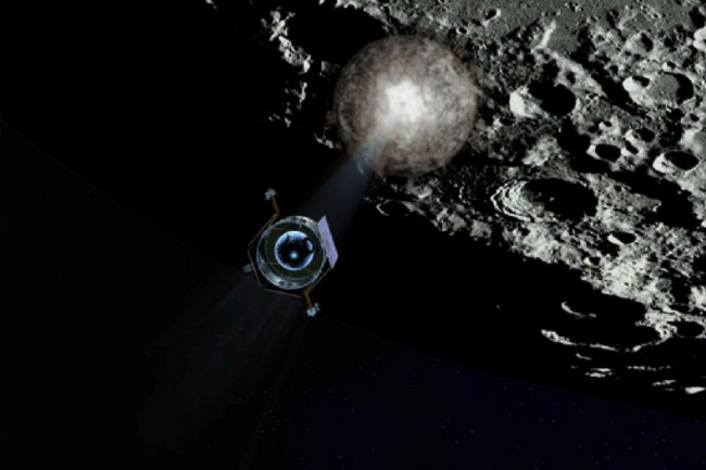 spacecraft in view with explosion on moon