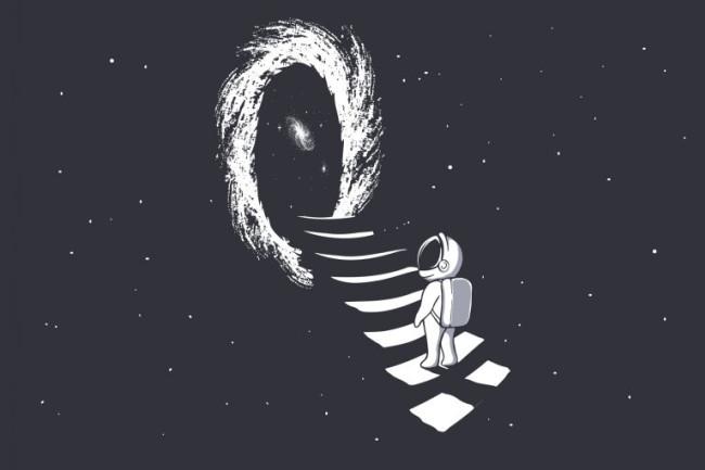 Astronaut Wormhole Art - Shutterstock