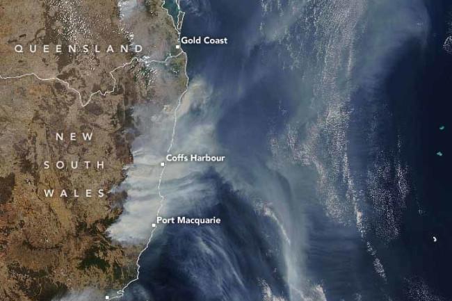 australia wildfire smoke from space