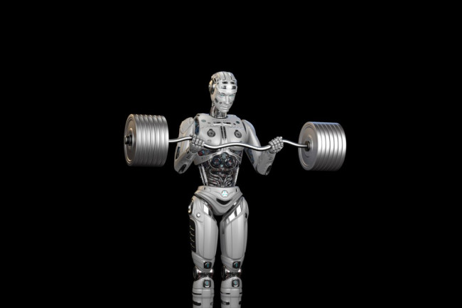 strong robot lifts weights