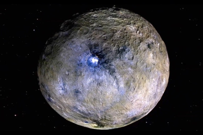 ceres white spots water ocean