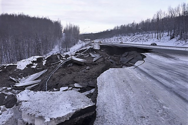 Earthquake damage to Glenn Highway at Mirror Lake