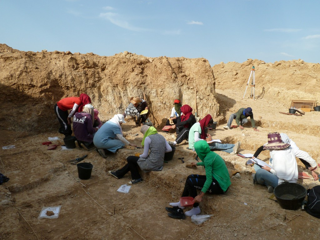 Members of Ain Hanech team excavating at Ain Boucherit. [Credit: M. Sahnouni]