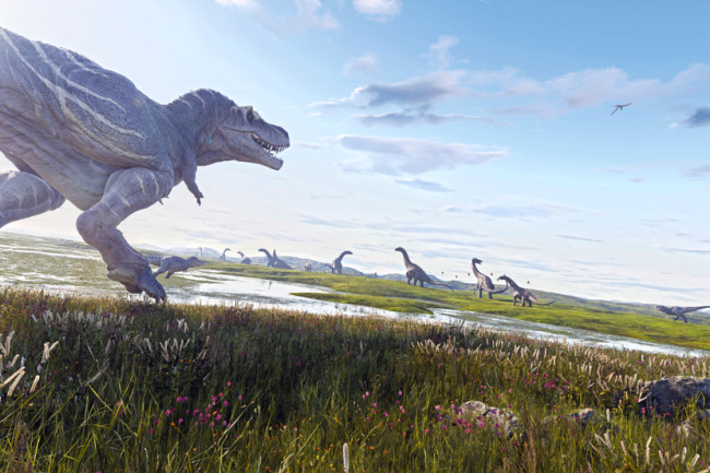 dinosaur hunting herd Alamosaurus Tyrannosaurus Rex - Shutterstock