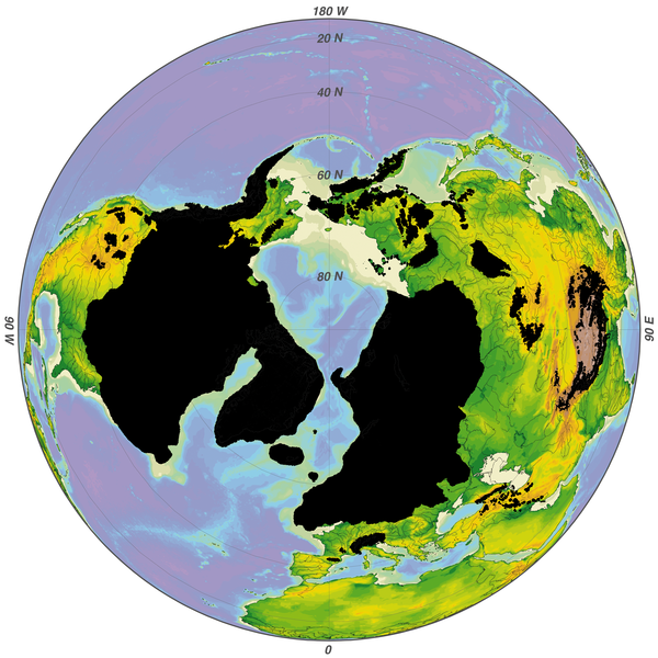 A map of Earth from above, with the north pole in the center. In black, ice covers the continents, especially North America and Europe.