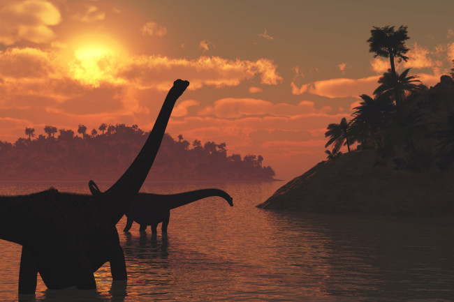 dinosaurs in the sun lake shutterstock