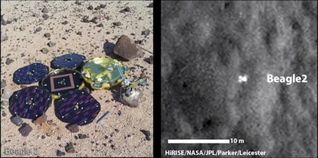 Beagle 2 (left) should have unfolded as seen above. Images from NASA's Mars Reconnaissance Orbiter (right) show that instead only a few of its solar panels unfolded as planned. Image Credit: NASA-JPL