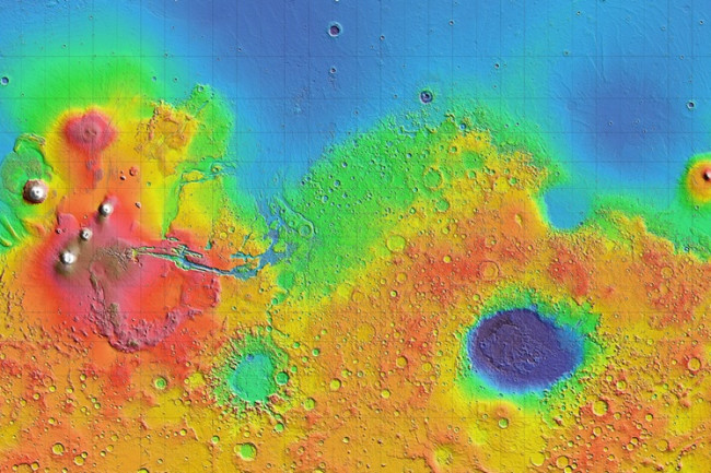 Mars Elevation Heat Map - NASA