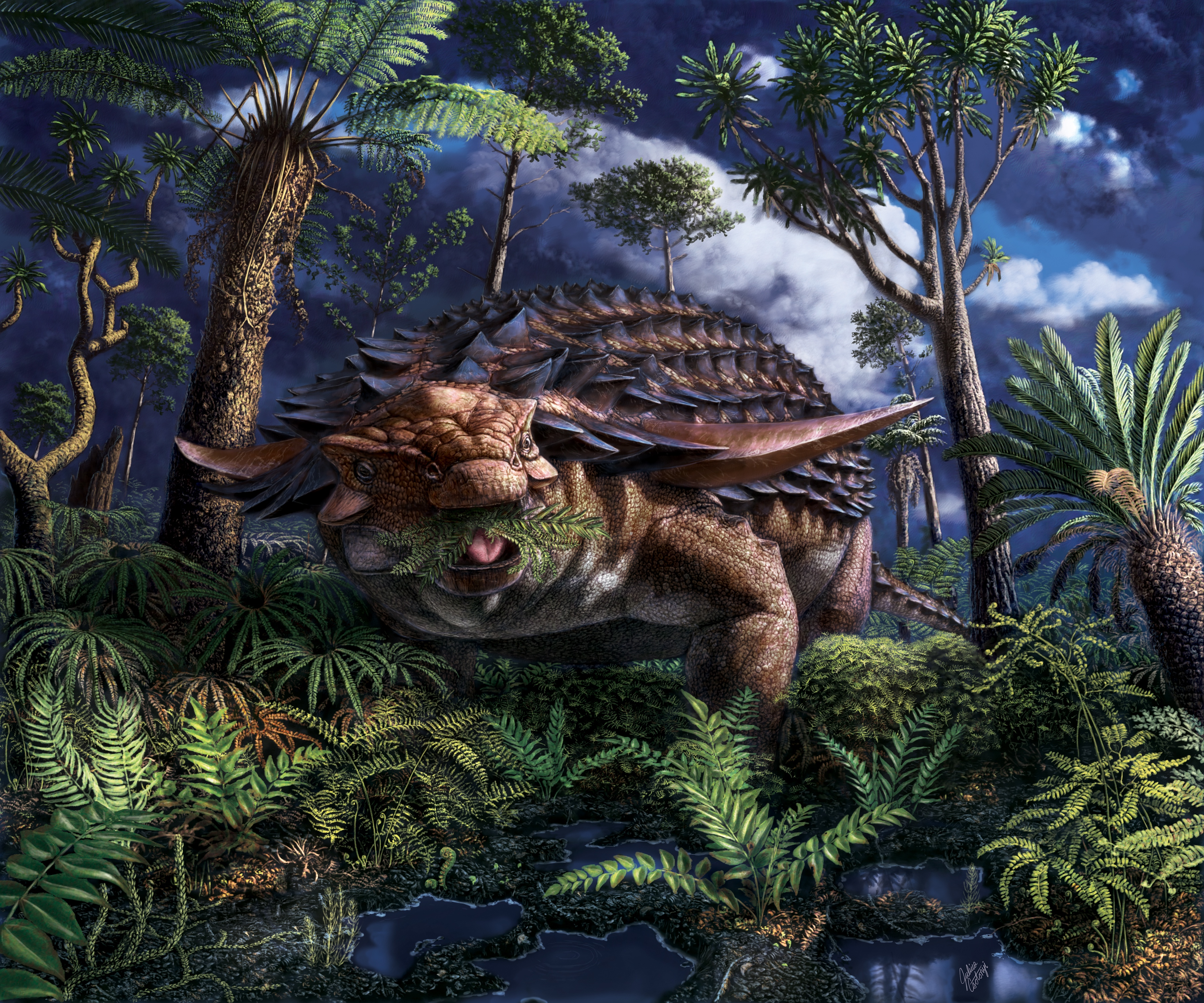 Armored Dinosaur's Last Meal Found Preserved in Its Fossilized Belly