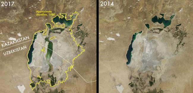 Mar de Aral, 2017 2014 - NASA