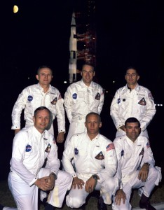 Apollo 8 prime and backup crews. Front: Armstrong, Aldrin, Haise. Back: Borman, Lovell, Anders. NASA