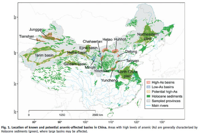 Map of Arsenic in China
