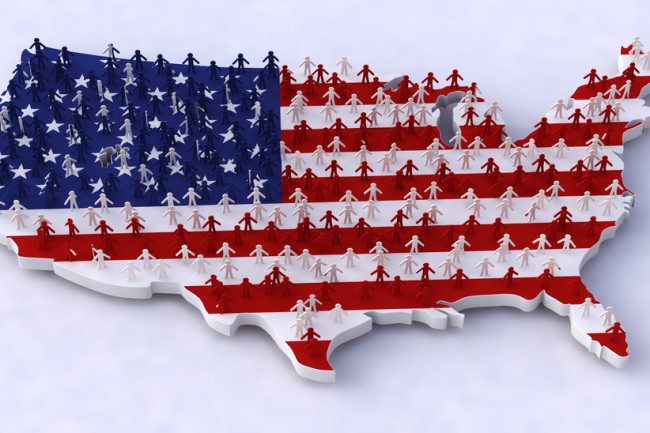 map of united states people country America - shutterstock