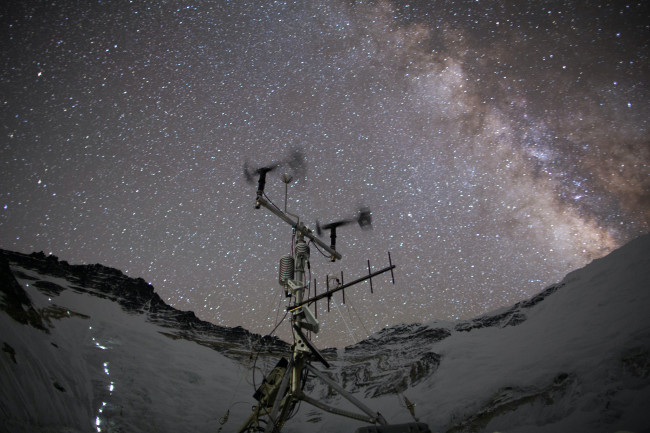A newly installed weather station at Everest's Camp 2 gathers data on conditions 6,464 meters above sea level. It's built to survive, since servicing missions are few and far between. (Credit: National Geographic Society/Eric Daft)