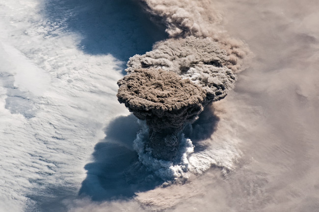 Raikoke Eruption as Seen from the International Space Station