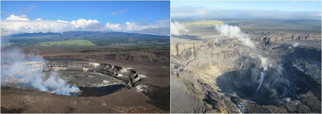 Before and after views of Kīlauea's summit