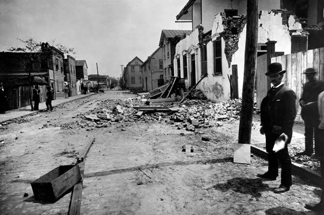 Damage from the August 31, 1886 earthquake near Charleston, South Carolina. John Karl Hillers/USGS