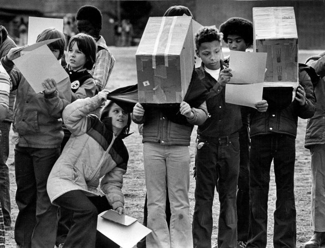 solar eclipse Denver 1979 students boxes