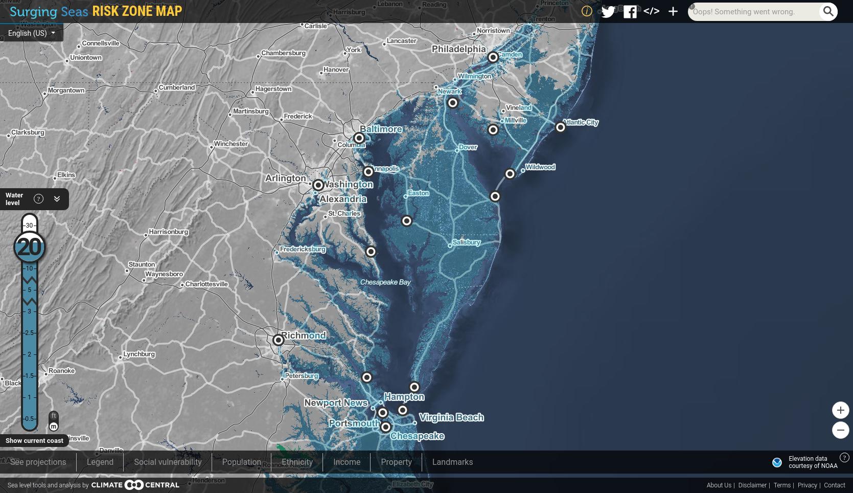 Mapa de subida del nivel del mar