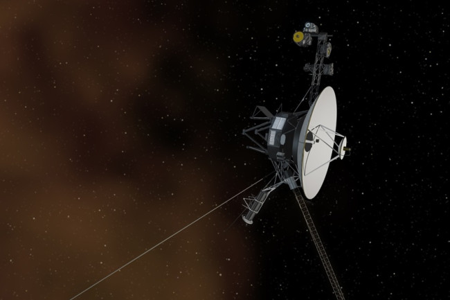 This artist's concept depicts one of the Voyager spacecraft crossing the solar system's boundary into interstellar space. Though these spacecraft launched decades ago, many of their instruments remain functional. (Credit: NASA/JPL-Caltech)