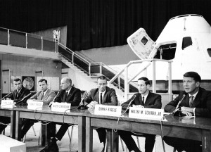 The Apollo 7 prime and backup crews. Left to right: Cernan, Young, Stafford, Cunningham, Eisele, Schirra. NASA.