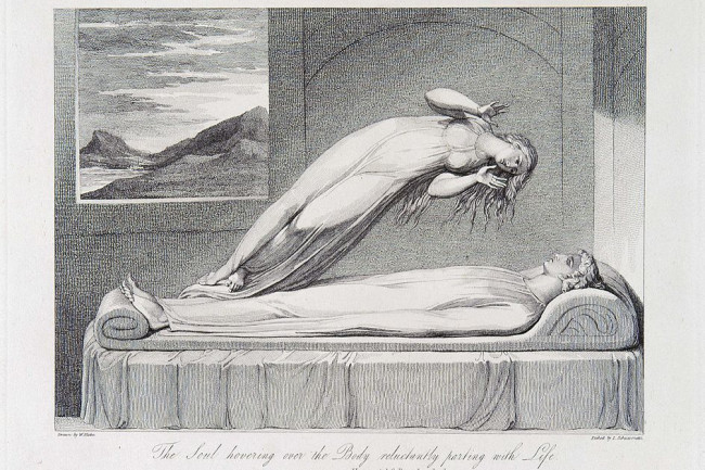 Robert Blair The Soul Hovering over the Body Reluctantly Parting with Life - Wikimedia commons