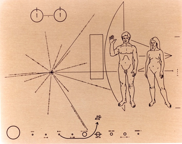 The Pioneer plaque is a gold-anodized aluminum plate with these images engraved onto it. (Credit: NASA Ames Resarch Center [NASA-ARC])