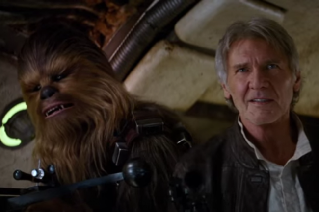 "Han Solo and Chewbacca in ""Star Wars: The Force Awakens."" Credit: Disney 