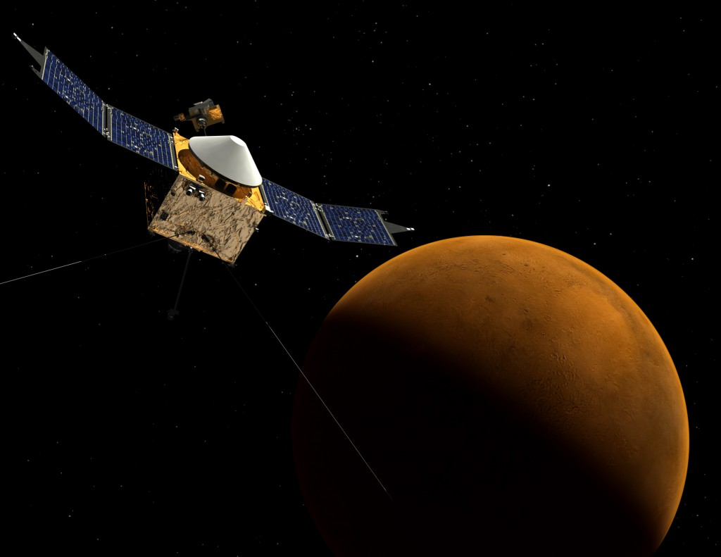 the MAVEN spacecraft orbiting Mars. Credit: NASA/Goddard Space Flight Center
