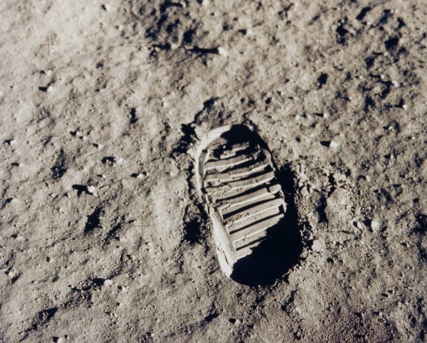 One of Buzz Aldrin's first bootprints from his Apollo 11 moonwalk on July 20, 1969. (Credit: NASA)