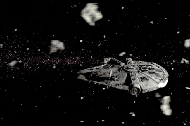 "An ""asteroid field"" according to the Star Wars movies. In reality, the asteroid belt in our solar system is mostly a whole lot of nothingness. (Credit: Lucasfilm)"
