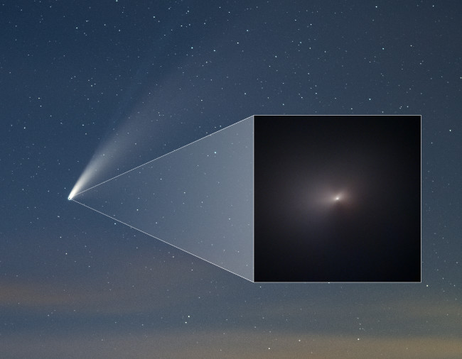 The dust and ion tails of Comet NEOWISE were easily visible from Earth, even though the comet itself (inset) was so small that even the Hubble Space Telescope could not resolve it. (Credit: NASA/ESA/STScI, Q. Zhang, Z. Levay)