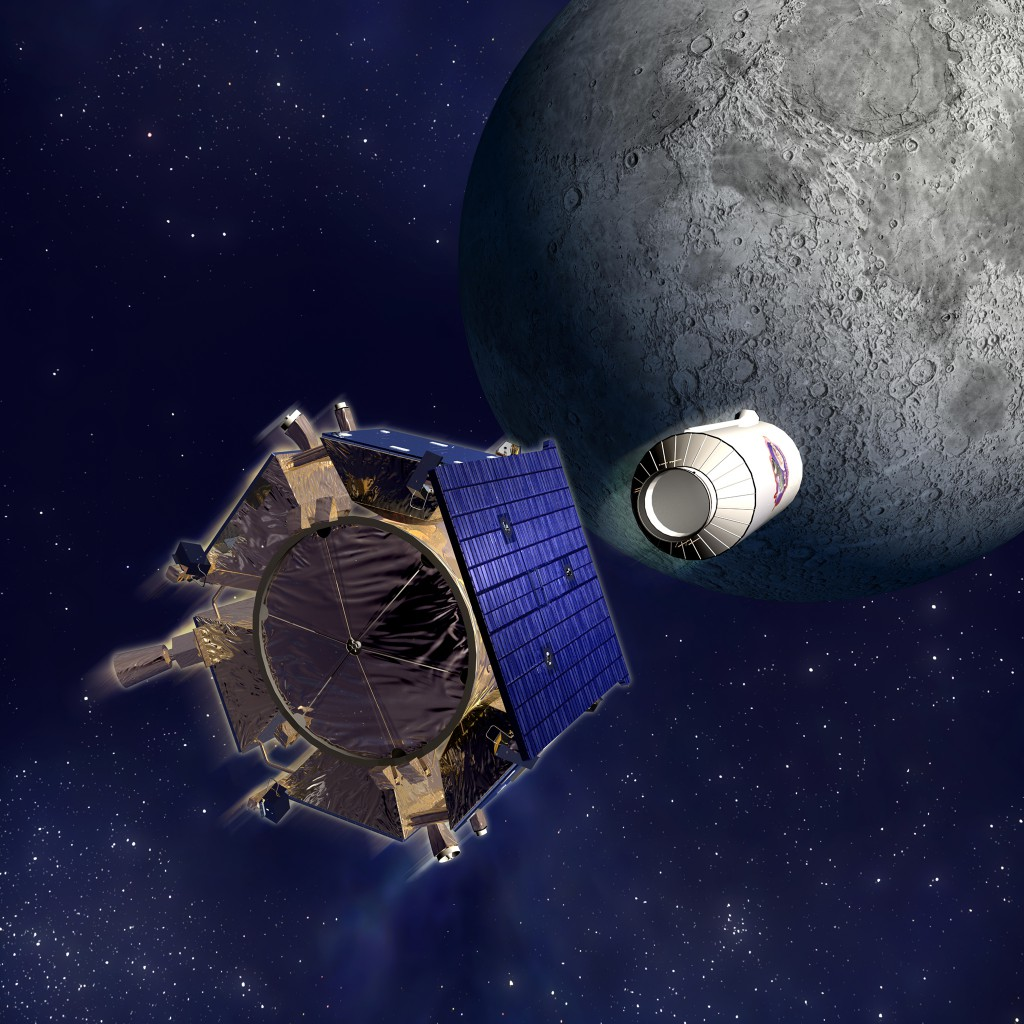 illustration of spacecraft releasing an impactor toward the moon